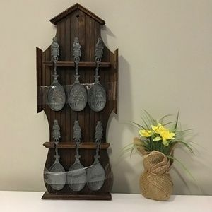 Wall Rustic wooden decor with Pewter spoons